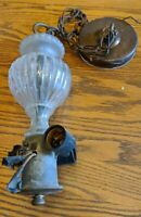 ANTIQUE GLASS CRYSTAL CHANDELIER BRASS HARDWARE PARTS VICTORIAN VTG LIGHT LAMP
