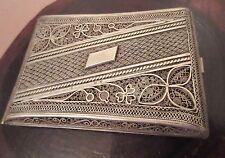 large antique heavy sterling silver filigree ornate cigarette smoking case box