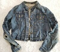 Banana Republic Womens Cropped Denim Truckers Jacket Distressed Large (DD2)