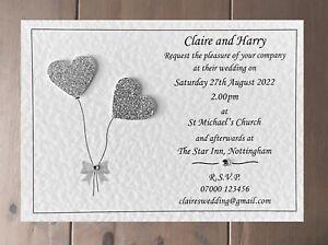10 Personalised Wedding Invitations Day or Evening Invites Inc Envelopes