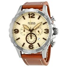 Fossil Nate Chronograph Beige Dial Brown Leather Men's Watch JR1503 N