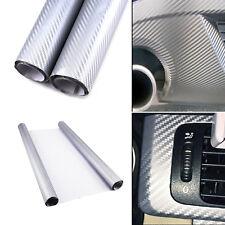 152cmx60cm Silver 3D Carbon Fiber Vinyl Car Wrap Sheet Roll Film Sticker Decal