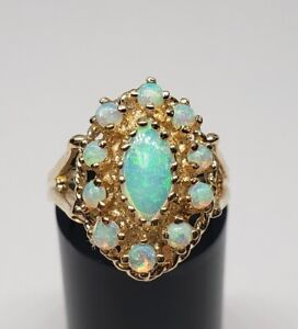 14k Yellow Gold 1.05ctw Natural Water Crystal Opal Cluster Ring 7''