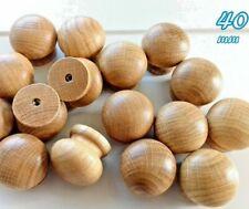 """10 Wooden Oak Knobs Handles Kitchen Door Drawer Cabinet Cupboard 1.57""""40mm"""