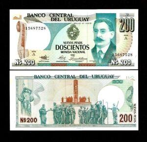 URUGUAY 200 NOVO PESOS P66 1986 QUILL HORSE COW MONUMENT UNC MONEY BILL BANKNOTE