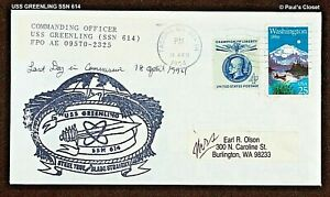 """USS GREENLING SSN 614 USN ATTACK SUBMARINE """"LAST DAY IN COMMISSION"""" COVER W/CASC"""