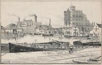 SAMUEL LOXTON (1857-1922) Pen & Ink Drawing REDCLIFFE WHARF BRISTOL c1910