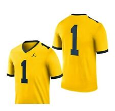 NWT Nike Jumpman University of Michigan  Dri Fit Jersey LARGE Yellow/Blue
