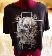 Freeze Junior Girl's Graphic 'SKULL and CROSS' - BLACK T-Shirt - SMALL