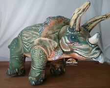 "Vintage 1992 Jurassic Park Triceratops Large 28"" L  Hard Fabric Plush With Tag"