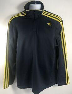 Adidas Warm Up Track Jacket L Retro Style Navy Blue With Yellow Striped Sleeves