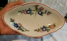 Vtg Lamberton Scammell Floral Soap Dish / Trinket Dish- Oval with scallop edging