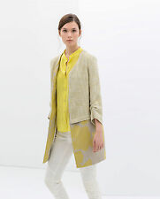 RARE ! ZARA YELLOW LIME COMBINATION COUNTRY STYLE JACKET COAT SIZE SMALL S  NEW