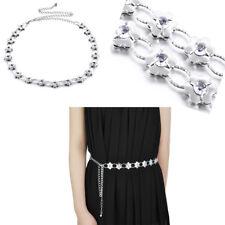 Women Fancy Waist Chain Belt Diamante Flower Design Silver Dress Party Wear