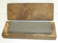 """Vintage Rarely Used Knife Sharpening Stone w/ Wood Box (6"""" x 2"""" x 1"""") Antique"""
