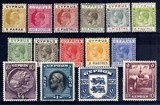 CYPRUS EDWARD 7th-GEORGE 5th HINGED MINT SELECTION, 15 STAMPS