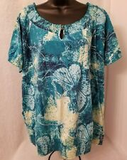 Basic Editions Womens Green Blue White Butterfly Design Shirt Top Blouse Size 2X