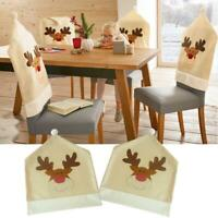 Christmas Chair Cover Xmas Seat Back Covers elk Deer Home Party Dinner Banquet