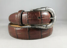 New Brighton Brown Croco Leather Belt Silver Buckle Size XS/26 41807