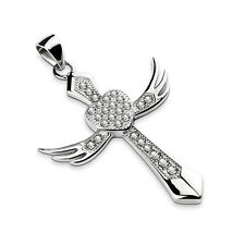 Silver Depot Gem Pave Angel Wing Cross, Centered Heart Stainless Steel Pendant