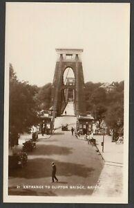 Postcard Bristol entrance to Clifton Suspension Bridge motor car NH 5281 RP
