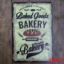 Metal Tin Sign baked goods bakery Bar Pub Vintage Retro Poster Cafe ART