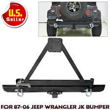 For Jeep Wrangler TJ YJ Textured Rear Bumper With Tire Carrier Swing