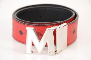 MCM red black 25 reversible monogram visetos logo M buckle waist belt $295