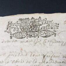 Acte Notarié XVIIIè Marque Généralité De Caen