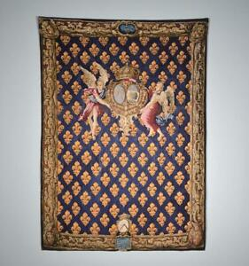 *Vintage Lined French Reproduction Tapestry of Portiere Fleurdelysee