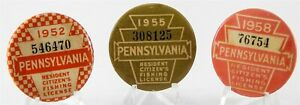 Lot of 3 Vtg 1952 55 58 PA Fishing Licenses Pennsylvania Resident Buttons Pins