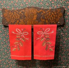 Pair Vintage NOS Embroidered Christmas Tea Towels Handmade Linen Holly Ivy