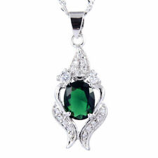 Melina Jewelry 18K White Gold Plated CZ Green Emerald Oval Pendant Necklace