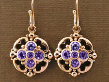 E024 - Genuine SOLID 9ct  Rose Gold NATURAL Amethyst Drop Earrings Blossom