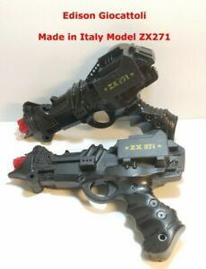 Vintage 1982 Edison Giocattoli ISC Space Toy Cap Dart Guns ZX 271 Lot of 2 Work