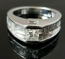1.80 Modern Princess Solitaire Baguette Fashion/Engagement 14k white gold band