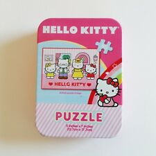 "Sanrio Hello Kitty MIni Tin JIgzaw Puzzle 50 pc Hello Kittys Family 5"" x 7"""