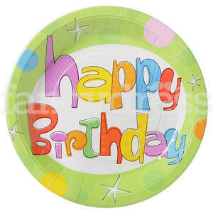 "Birthday Glee Paper Plates 8 x 9"" Birthday Party Spots and Stars Celebration NEW"
