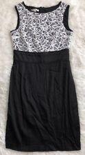 Women's London Times Black & White, Crochet Detailed, Cotton/Spandex Dress-sz 6