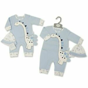 BNWT  Baby boys all in one romper blue dinosaur suit and hat NB 0-3m 3-6m