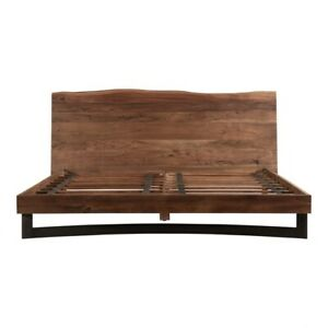 """89"""" King Bed Modern One of a Kind Live Edge Solid Acacia Wood Frame Iron Legs"""