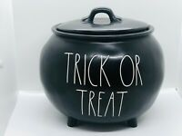 Rae Dunn Halloween By Magenta Black TRICK OR TREAT Large Cauldron with Lid HTF