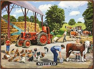 Nuffield Universal Tractor by barn large steel sign 400mm x 300mm (og)