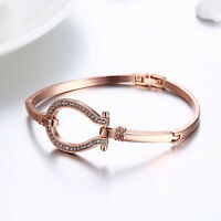 18K REAL ROSE GOLD FILLED MADE WITH SWAROVSKI CRYSTALS BRACELETS CHARM BANGLE