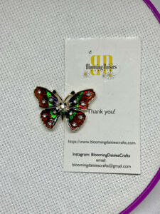 Magnetic Needle Minder Cross Stitch Beautiful Butterfly / Fridge Magnet