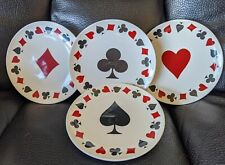 """Luminac Card Party 6"""" Set of 4 Plates Poker Black Jack Appetizer Used Once"""