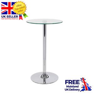 1m High Round Clear Como Poseur Table Modern Chrome Breakfast Bar Furniture