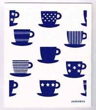 NEW Blue Tea Cups Design Eco Friendly Kitchen Dishcloth