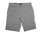 Tommy Hilfiger Classic Fit Straight Plaid Shorts - Dark Shadow - Size: 38w   D-4