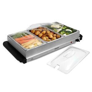 Emperial Food Warmer Buffet Server Hot Plate 2.5L 3 Tray Adjustable Temperature
